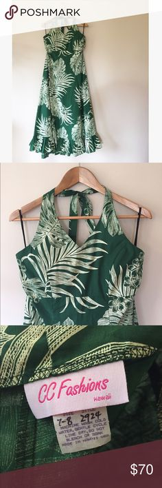 """Vintage Hawaiian aloha plumeria halter dress This incredible vintage dress was made in Hawaii and is still in excellent condition! Vibrant, detailed tropical print and deep green shade.   51"""" long from base of adjustable halter tie 16"""" seam under bust laying flat   Ships from Hawaii  No trades  Reasonable offers welcome  Bundle & save  Vintage Dresses"""