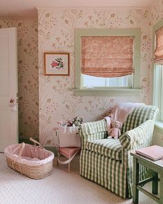 julia-engel-gal-meets-glam-nursery-green-white-gingham-buffalo-check-print-pink-floral - The Glam Pad Girl Nursery, Girls Bedroom, Bedrooms, Nursery School, Charleston Homes, Cute House, Little Girl Rooms, White Houses, Gal Meets Glam