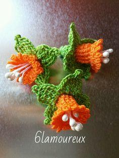 3 ORANGE Handmade Crochet Cotton Flowers APPLIQUE EMBELLISHMENT Card Craft | eBay