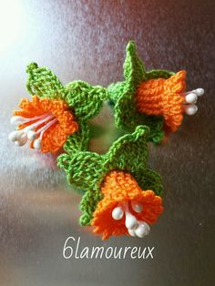 3 ORANGE Handmade Crochet Cotton Flowers APPLIQUE EMBELLISHMENT Card Craft | eBay