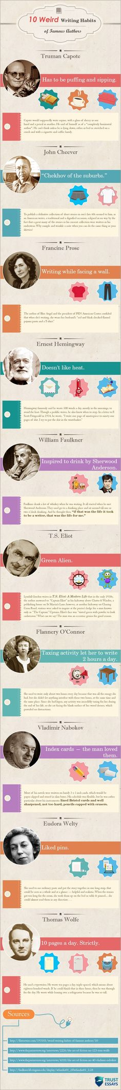 The Weird Writing Practices of Authors: INFOGRAPHIC