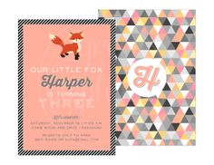 Fox Birthday Party Invitation | Available in Pink (Girl) and Blue (Boy)