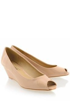 Nude Peep Toe Low Heels