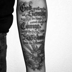 Guys Inner Forearm Serenity Prayer Tattoo Design Ideas