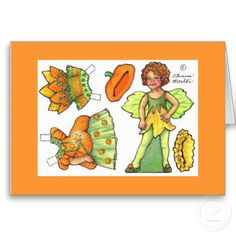 Fairies Paper Dolls | Pumpkin fairy blank paper doll note card from Zazzle.com