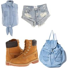 A fashion look from March 2015 featuring One Teaspoon shorts and Timberland boots. Browse and shop related looks.