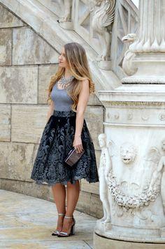 Dark Romance  ---   Skirt // Chi Chi London  Top, Bag, Heels,Necklace // ZARA Ring // Accessorize