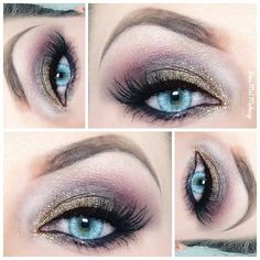 Gold on inner lid, taupe - Brown on outer lid, cranberry shade blended out in crease, white in the inner corner, gold on the inner lower lash line, and a little taupe and cranberry shadow on the rest of the lower lash line. Add black eyeliner and mascara. Done!