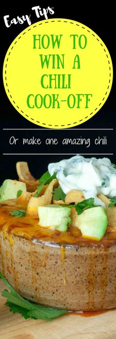 A Chorizo Chicken Chili with Lime Cilantro Sour Cream recipe and tons of useful tips on how to win a chili cook-off or just make an extraordinary chili Chorizo Chili Recipe, Chili Recipes, Crockpot Recipes, Chili Recipe Crockpot Best, Top Recipes, Chili Cook Off, Chili Chili, Good Food, Yummy Food