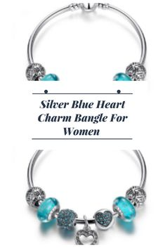 Silver Blue Heart Charm Bangle For Women Beaded Bracelet Patterns, Beaded Bracelets, Jewelry Gifts, Jewellery, Heart Charm, Fashion Bracelets, Gifts For Women, Turquoise Bracelet, Bangles