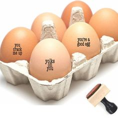 This listing is a choice of ONE egg stamp or a SET of TWO or THREE egg stamps to stamp directly on your eggs with a choice of these sayings... youre a good egg - this will be used if nothing is noted in comments you crack me up yolks on you This egg stamper is a great way to customize your eggs and makes a funny gift, especially a hostess gift or housewarming gift. When you order a Southern Paper & Ink stamp, you'll enjoy friendly and quick service and the best quality stamps that ship in…