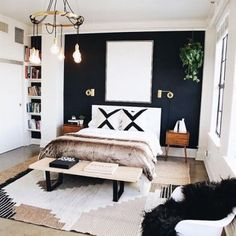 Cool 46 Modern Small Bedroom Design Ideas That Are Look Stylishly Space Saving Stylish Bedroom, Stylish Home Decor, Home Decor Bedroom, Diy Bedroom, Bedroom Curtains, Fall Bedroom, Accent Wall Bedroom, Bedroom Wallpaper, Bedroom Apartment