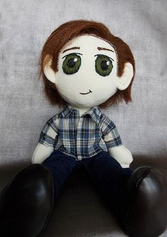 Sam Winchester Doll, available here: https://www.etsy.com/listing/209237612/sam-winchester-supernatural-doll-plushie?