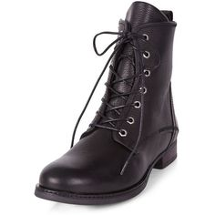 Black Leather Lace Up Boots ($38) ❤ liked on Polyvore featuring shoes, boots, black boots, black lace-up boots, black leather lace up boots, leather lace up boots and leather boots