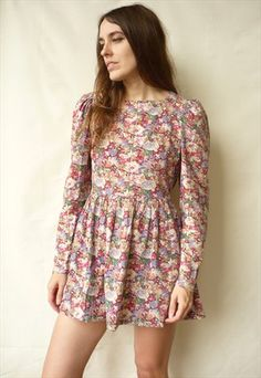 Vintage Floral Printed Mini Prom Dress Size Small