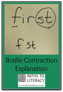 Tips for helping braille readers make sense of contractions (Image: the word 'first' written in print as it would be contracted in braille 'f' and 'st'; Student Teaching, Teaching Tools, Teaching Ideas, Braille Reader, Braille Alphabet, We Are Teachers, Vision Therapy, Always Learning, Book Activities