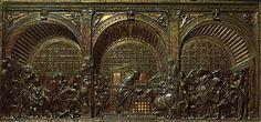 MIRACOLO DELL' ASINA - Donatello - bassorilievo - tecnica della cera perduta - facente parte della decorazione dell'altare della basilica del Santo a Padova, in particolare della serie dei quattro Miracoli di Sant'Antonio - 1448 - conservato alla basilica di Sant' Antonio (Padova)