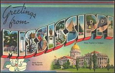 1940 Large Letter Greeting from Mississippi State Vintage Postcard