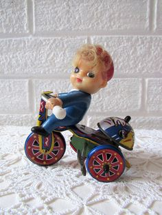 Vintage Tin Wind Up Toy. Boy On A Bike. Cute Vintage Tin Toy. How cute is he!!!!