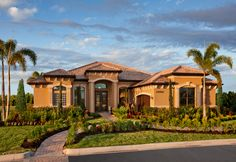 Bonita Lakes - Estates Collection by Toll Brothers in Bonita Springs, Florida Dream Home Design, House Design, Traditional Home Exteriors, Modern Mediterranean Homes, Modern Bungalow House, Model House Plan, Stucco Homes, Toll Brothers, Tuscan House