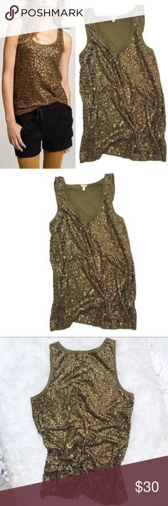 J. Crew Army Green Sequin Tank Size M Monochromatic, all over Sequin design on a cotton/linen/modal blend tank! Such a class, chic style great to add under any chunky cardigan- perfect for Fall & the Holidays. Approx 26in L, 17in Bust. No trades or modeling, offers always welcomed! J. Crew Tops Tank Tops