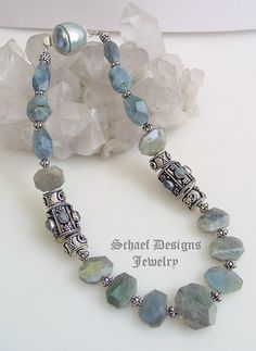 Schaef Designs Kyanite & Labradorite Nugget Necklace with Ethnic Sterling Silver beads