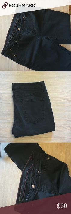 Talbots Heritage Fit Straight Leg Petite Jeans Great used condition Talbots Petite Black Jeans. Classic 5 pocket style. Waist 16 Rise 10 Inseam 28. Machine wash. Talbots Jeans Straight Leg