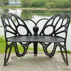 FlowerHouse Butterfly Bench - Black