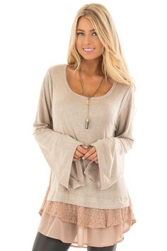 e764af225ba25 Lime Lush Boutique - Mocha Bell Sleeve Top with Lace and Chiffon Details