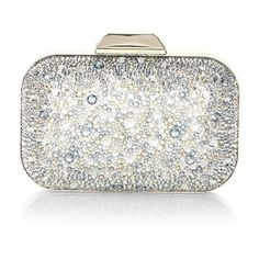 Jimmy Choo Cloud Crystal Clutch ($3,095) ❤ liked on Polyvore featuring bags, handbags, clutches, clasp handbag, jimmy choo, white handbags, metallic handbags and metallic purse