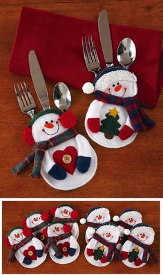 Santa Snowman Christmas Silverware Holder Pocket Holiday Party Decor New Christmas Sewing, Christmas Snowman, Christmas Stockings, Christmas Ornaments, Christmas Candy, Christmas Placemats, Merry Christmas, Christmas Felt Crafts, Handmade Christmas