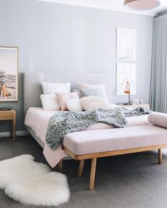 Grey white and pink interiors