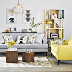 Inspiring Yellow Sofas To Perfect Living Room Color Schemes 6 - DecOMG Living Room Color Schemes, Living Room Designs, Grey And Yellow Living Room, Living Room Decor Yellow, Sala Vintage, Vintage Decor, Cosy Home, Living Room Grey, Living Rooms