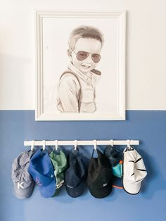 Great ideas for organizing hats! Hat Organization, Organizing Hats, Big Boy Bedrooms, Boy Rooms, Feather Wallpaper, Hat Storage, The Company Store, Toddler Rooms, Project Nursery