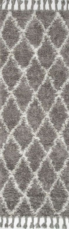 NuLOOM Hand Knotted Fez Shag Rug Grey