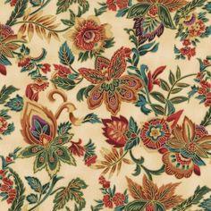 Hoffman Fabrics Canterbury Crimson Gold Jacobean Floral Spray