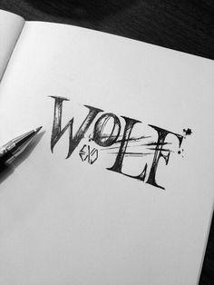 exo and wolf image Cute Drawings, Drawing Sketches, Wolf Drawings, Teen Wolf Desenho, Arte Teen Wolf, Wolf Sketch, Exo Fan Art, Wolf Tattoos, Amazing Art