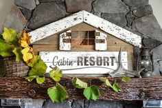 Illuminated cabin shaped sign made with Cabin Resort from Funky Junk's Old Sign Stencils