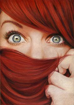beauty, eye, eyes, girl, hair, hair red