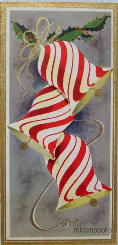 #863 50s Mid Century Peppermint Striped Bells- Vintage Christmas Card-Greeting | eBay