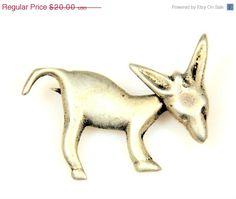 Vintage Figural Sterling Silver Donkey Brooch #bestofEtsy #gvsteam