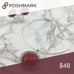 Red Pendant Necklace & Earrings Beautiful Matching Earring & Pendant Set. Resin plated. Nickel & Lead Free. T&J Designs Jewelry