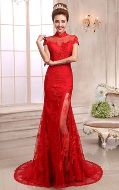 Mandarin collar trailing mermaid evening dress floral lace red Chinese bridal wedding gown 005 $169.98