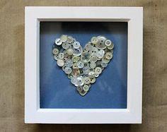 White/Cream Button Heart in Wooden Frame £15.00 on Etsy Copyright Emily Spenceley - Emravel