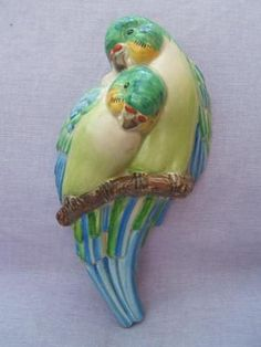 CLARICE CLIFF lovebirds / budgies / parakeets WALL POCKET Art Deco 1930s birds