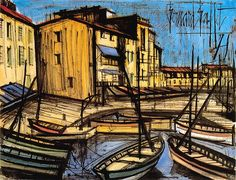 Bernard Buffet - Saint-Tropez, le port - 1978 mixed media on paper - 50 x 65 cm Saint Tropez, Bern, Ard Buffet, Spanish Painters, Magritte, France, Walter Gropius, French Artists, Fishing Boats