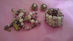 Purple Plastic Bead Bracelet Necklace and Clip by MICSJEWELSGALORE