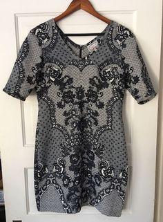 "Baraschi for Anthropologie Sketched Lace dress in dark navy blue/white print. Size 10. Loose seam on right hand side under bust--see pictures. Shoulder to shoulder: 17"". Length: 35"".   eBay!"