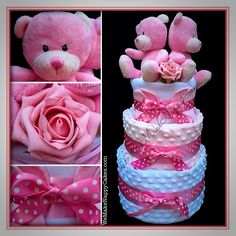 Twin Girls Teddy Three Tier Nappy Cake in Pink, with Hidden Extras for Mum and Babies