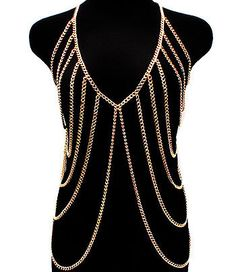 Body Chain Jewelry / Harness / Gold Vest. $40.00, via Etsy.